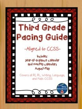 "Great for teachers new to 3rd grade or new to CCSS!I created this pacing guide to assist me in making sure I teach all the third grade CCSS by the end of the year. Included is a ""year-at-a-glance"" calendar that I keep on my bulletin board to remind me what students should have mastered and what is coming up."