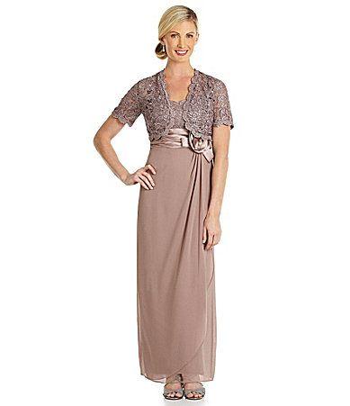 R and M Richards Lace Rosette Detail Jacket Dress #Dillards. A bit long.