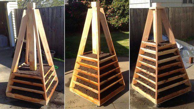Como Hacer Una Jardinera Para Ahorrar Espacio En Forma De Pirámide Para Aprovechar Al Máximo El E Garden Planters Diy Wooden Garden Planters Backyard Planters