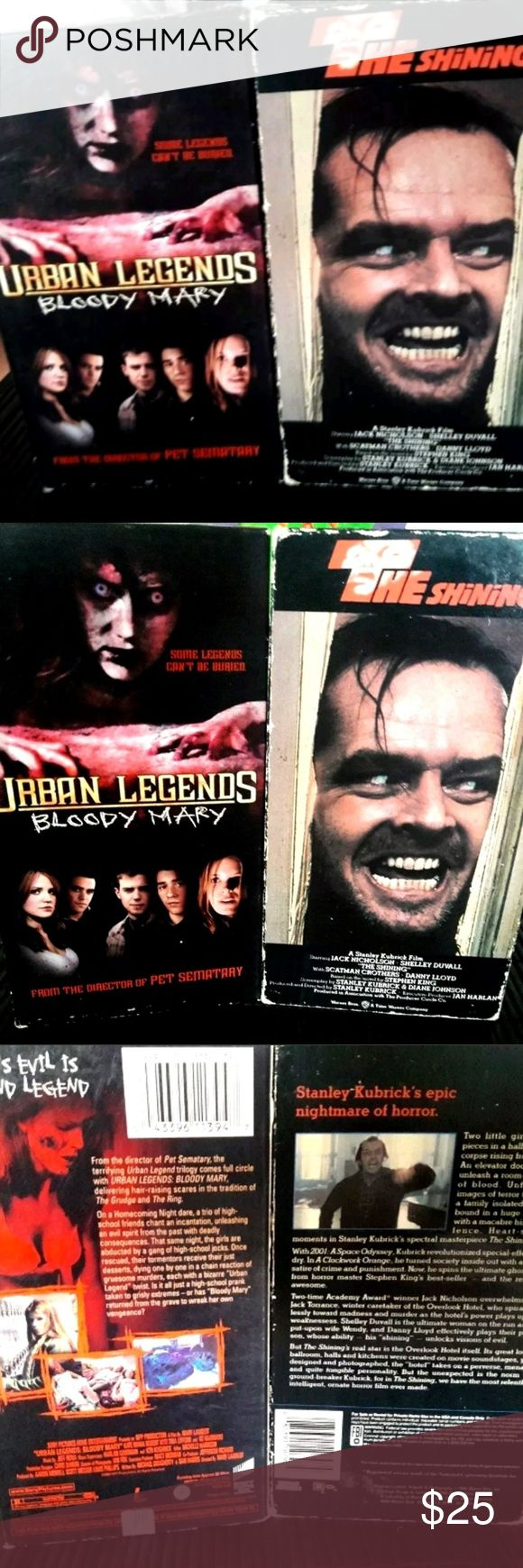 The Shining & Urban Legends Bloody Mary Vhs Like N The Shining & Urban Legends Bloody Mary Vhs Like New 2 VHS Super Cool Classic Horror Bloody Classic Red Rum Bloody Sick movies Sick Made Horror Cult Classic Movies Classic Movies At Its Best For Any True Horror Fan Collector Like Hannibal Lector Add These To Your Horror Collection If You May & Let The Red Rum Bloody Games Begin Shall We Let's Get Bloody Mate Let The Blood Reign Drip Fall & Gush Like A Game Of Bloodsport Human Blood & Flesh…