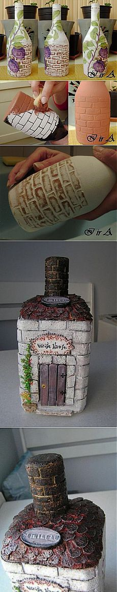 Имитация кирпичной кладки на бутылках