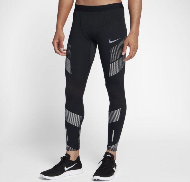 Nike Power Tech Running Tights Mens Reflective Green Silver