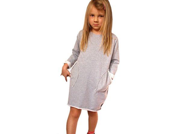 Bawełniana dresowa Sukienka Bombka - xdresse - Sukienki dla dziewczynek