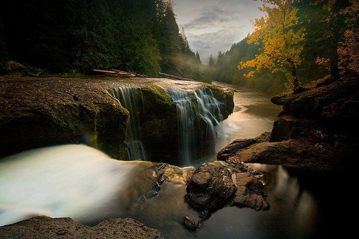 2009, Washington state, US: sunset falls on Gifford Pinchot national forest, named after the founder of the US Forest Service and National Geographic Society board member