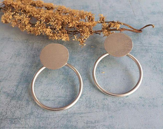 Stud silver earrings - open circle stud earrings - geometric earrings - circles earrings  Handmade by Carla Amaro