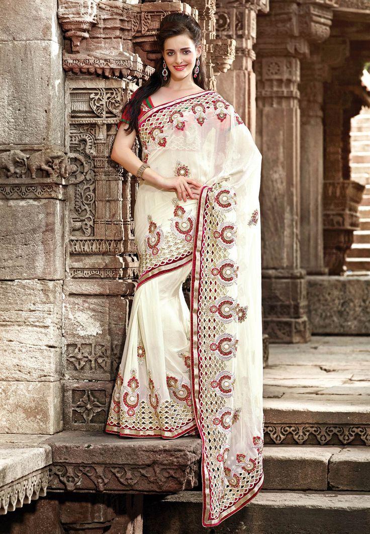 #Fabdeal White & red #net Saree
