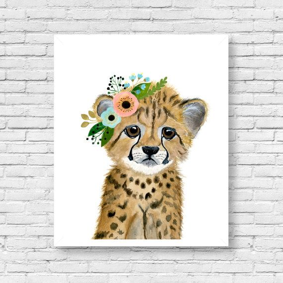 Nursery safari babies cheetah cub Animal Paintings by zuhalkanar