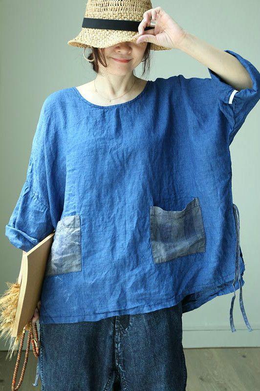 9003e4ba Bat Sleeve Front Pockets Oversized Shirt Linen Belted Plus Size Tunic in  2019   Morimiss Tops   Oversized shirt, Tunic, Tunic tops