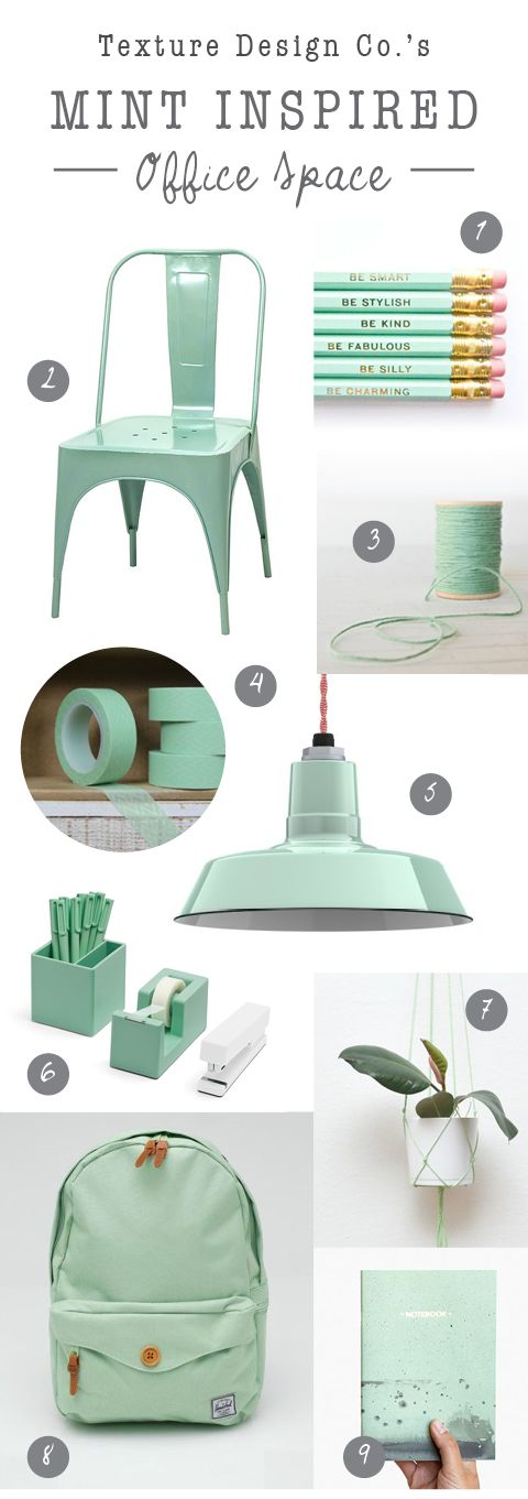 Seafoam and Mint Office Supplies and Decor. Everything you need for a Mint Inspired Office Space! Read more on the Texture Design Co blog!