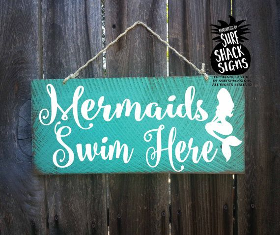 mermaid sign mermaid decor mermaid decoration by SurfShackSigns