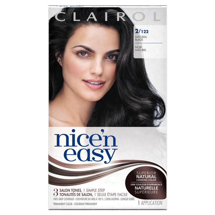 Clairol Nice 'n Easy Permanent Hair Color 2 122 Natural Black Kit - 1 Kit, Natural Black-122