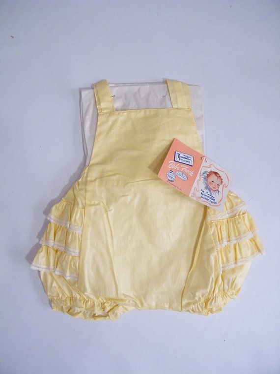 Vintage 1950s Baby Sunsuit / Romper / Yellow / 6-9 Months / Tags Attached