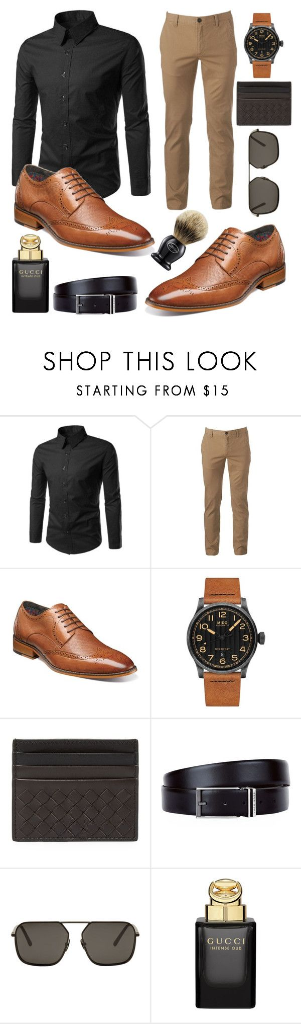 """Stylish men's wear"" by chalotteleah on Polyvore featuring Urban Pipeline, Stacy Adams, Mido, Bottega Veneta, HUGO, Dolce&Gabbana, Gucci, The Art of Shaving, men's fashion and menswear"