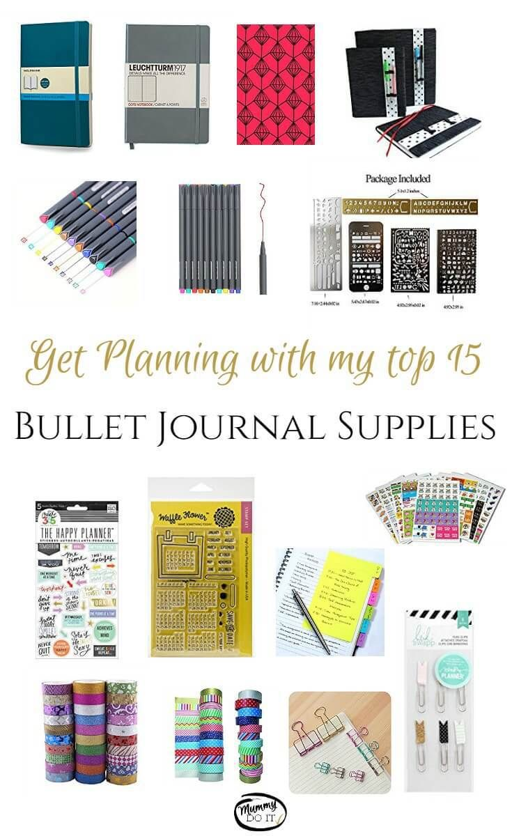 Get your planner organised and beautiful with these great bullet journal supplies. My top 15 bullet journal products, including pen, stickers, notebooks, stencils, clips and washi tape. Get creative with these fantastic ideas.