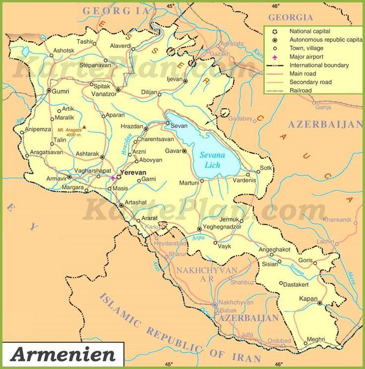 Armenien Strassenkarte Karteplan Com Strassenkarte Armenien