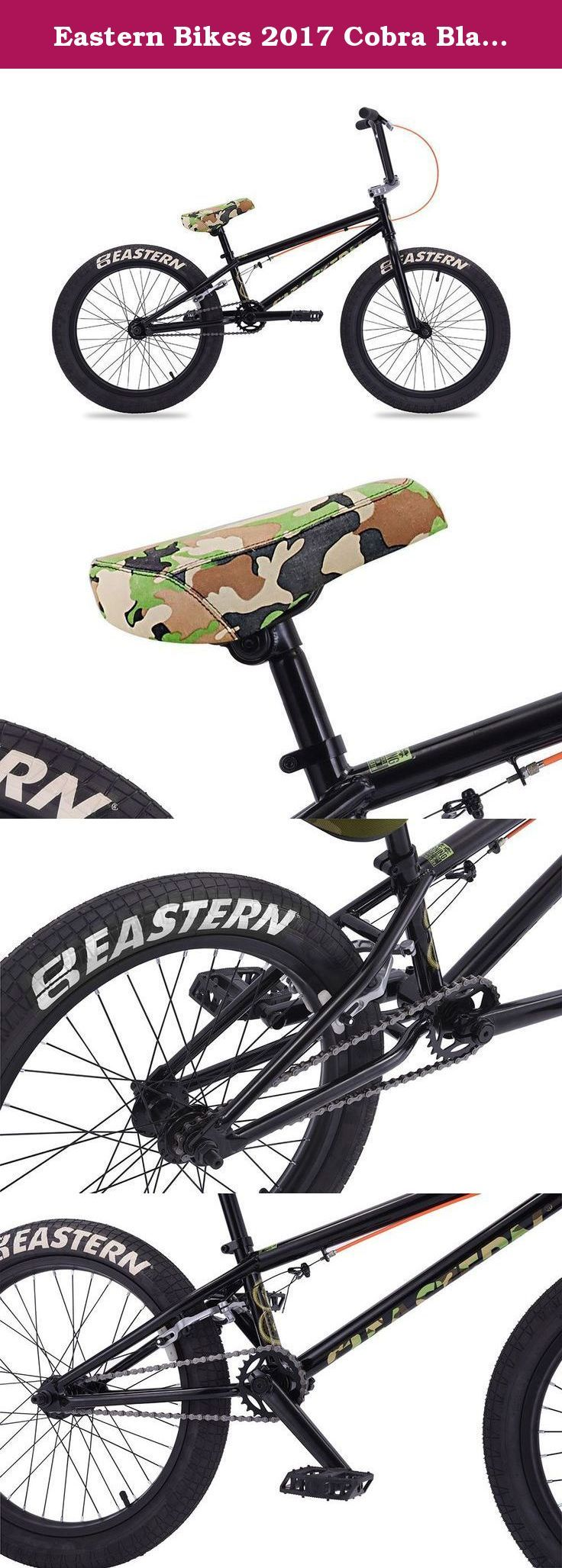 Eastern Bikes 2017 Cobra Black / Camo. The Cobra is a great beginner BMX bike for young riders and sold by the bicycle experts at Bike853 who are ready to help you with any questions you have before and after the sale to keep your Eastern Bike running smooth for years to come. The Cobra comes with a hi-tensile steel frame, sealed front and rear hubs and 3-piece tubular chromoly cranks for long-lasting dependability. The Cobra also comes with a 25/9 micro gearing and Eastern grips and seat...