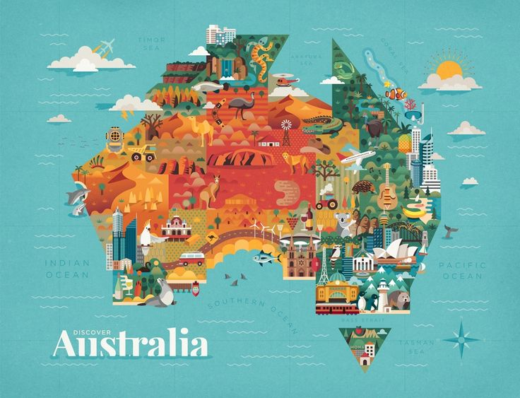 How Photoshop and Illustrator were used to create a stunning souvenir map highlighting the diversity within Australia.
