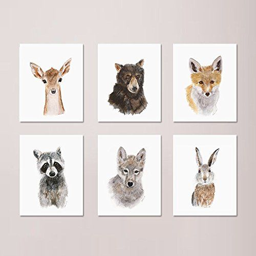 Woodland Nursery Print Set of 6 Prints Wildlife Portraits Forest Baby Animals included Deer