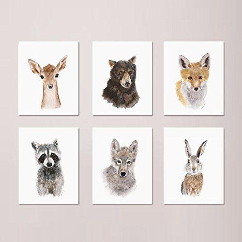 Woodland Nursery Print Set Of 6 Prints Wildlife Portraits