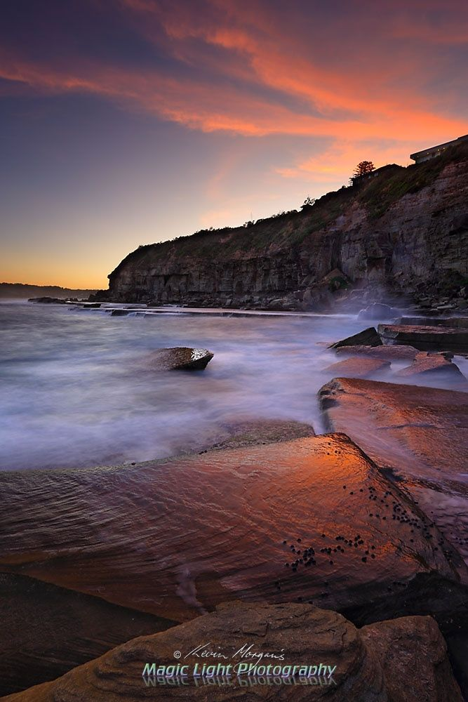 Terrigal Haven Rocks Sunset Feb 2016 - Sunset at the rock platform on the southern side of The Skillion at Terrigal Haven.