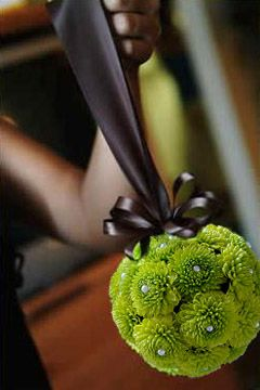Floral Pomander Ball with green Button Pom flowers- I'm loving this green!