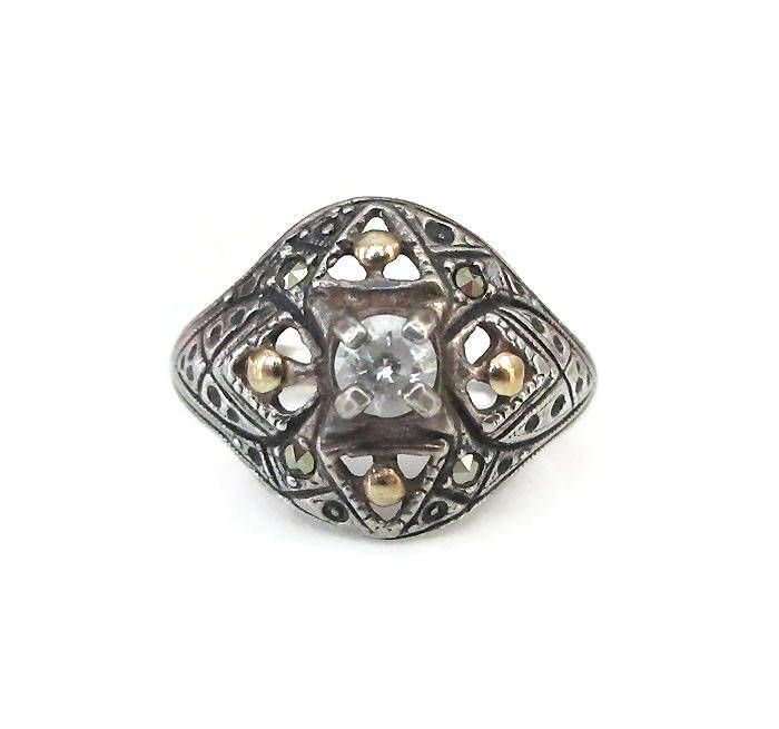 Art Deco Revival Sterling Silver Ring, Diamante Rhinestone, Marcasites, Gold Tone, Filigree Style, Vintage Ring, Size 6.75 by zephyrvintage on Etsy