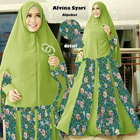 Baju Muslim Gamis Syar'i Alvina Syari Alpukat - http://warongmuslim.com/baju-muslim-gamis-syari-alvina-syari-alpukat.html