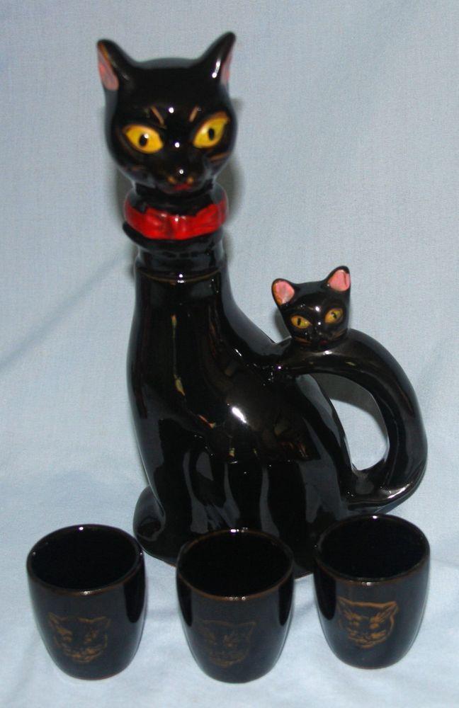 Vintage Ceramic Black Cat