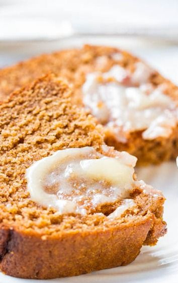Applesauce keeps this bread so soft & moist. It's like apple spice cake disguised as bread!
