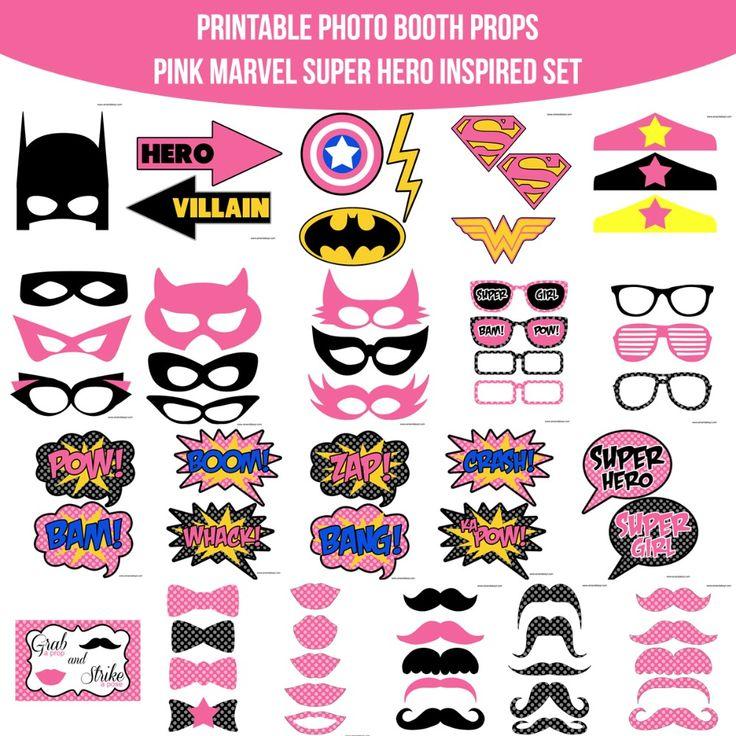 Instant Download Pink Marvel Super Girl Hero Inspired Printable Photo Booth Prop Set