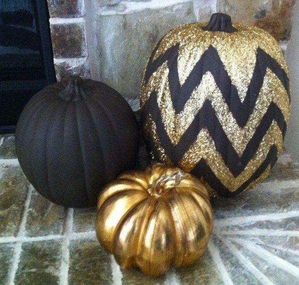 Citrouille Halloween noire, dorée et chevron Black-gold-No-carving-pumpkin- citrouille-halloween