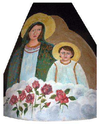 Madonna con Gesu' bambino (dipinto sul camino) - murales (60x100 cm)