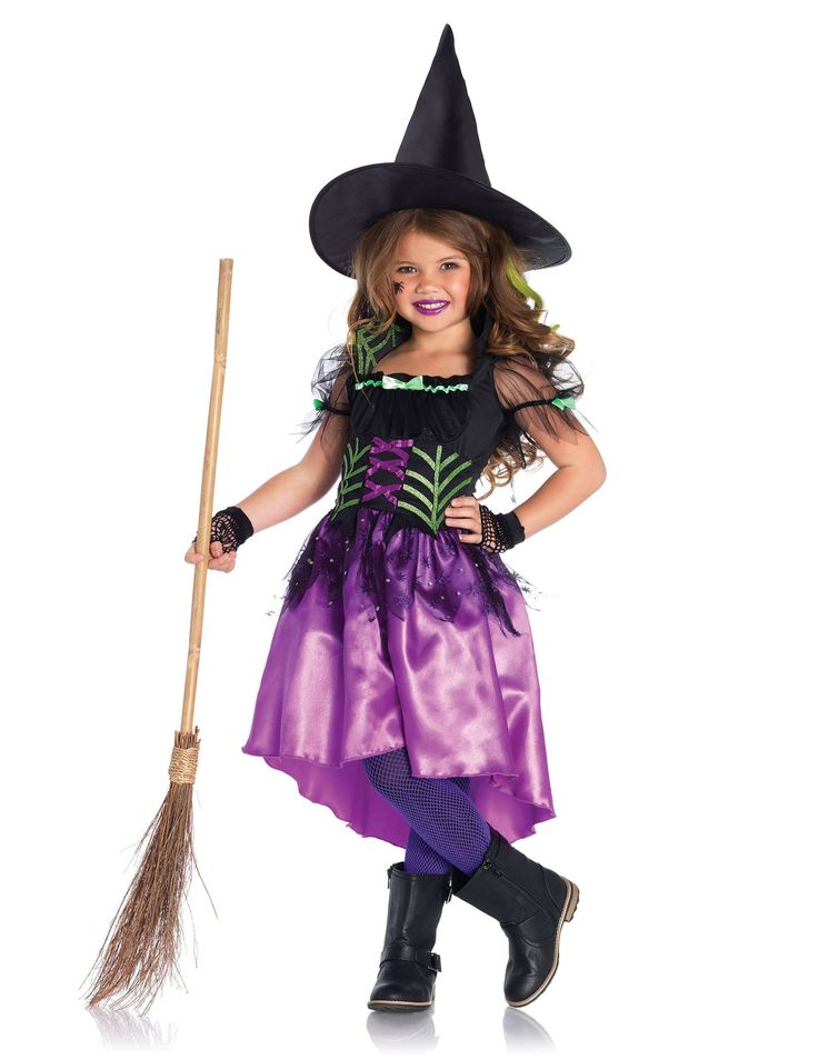 Disfraz bruja encantada niña Halloween: Este disfraz de bruja para niña incluye un vestido y un sombrero (guantes, escoba, medias y zapatos no incluidos). El vestido de bruja es de color negro y violeta. Lleva una falsa lazada en el...