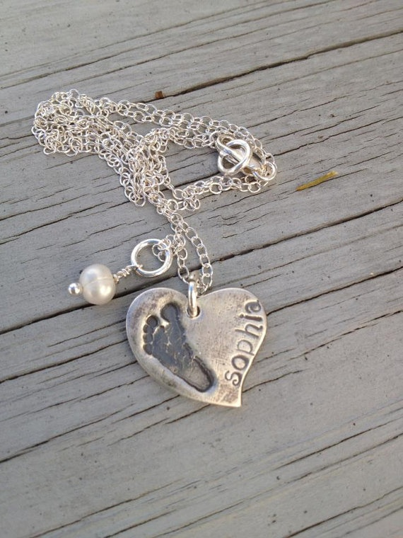 I want one!!!  YOUR CHILDS Actual  FOOTPRINT In Fine SIlverHeart by KLMcDesigns, $84.00