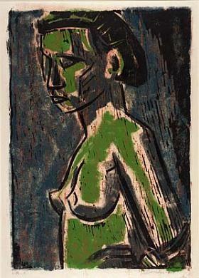 'Pensive' by German-born American artist & printmaker Werner Drewes (1899-1985). Color monoprint, woodcut, & celloprint. via Smithsonian American Art Museum