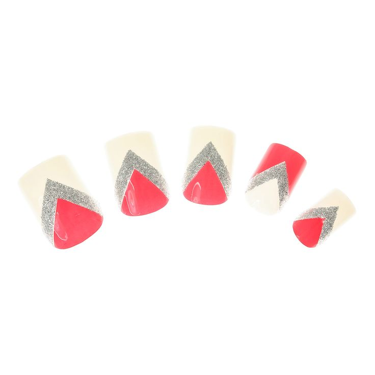 24 Pack Coral Chevron Glitter False Nails , False Nails, all, Nails, Make Up, Inspire Me..., Festival Make Up, Your Fave's, False Nails, SALE Make Up, Sale, Nails, Make Up, Sale, View All..., What's New Fashion trends, accessories and jewellery for young women