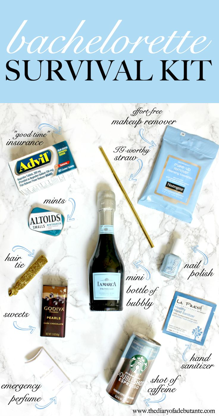 A super easy DIY Bachelorette Survival Kit! From mini bottles of champagne to pain killers, here are the party essentials every Maid of Honor should have wrapped and ready to go.