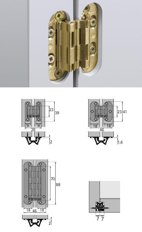 artikel Cerniera Sepa Descrizione: Messing matt / ottone satinato; Misura mm: 39 x   9;
