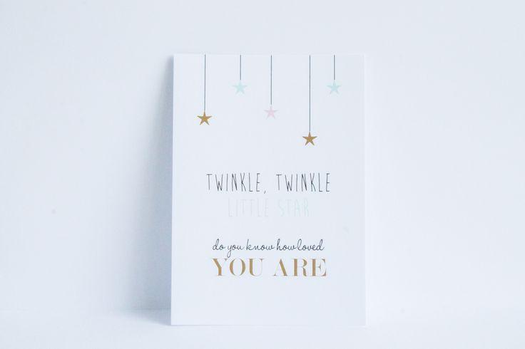 Is er een klein wondertje geboren? Verstuur deze kaart of zet hem op de babykamer - Te koop op www.leesign.nl - #wenskaart #kaart #leesign #twinkle #little #star #goud #mint #roze