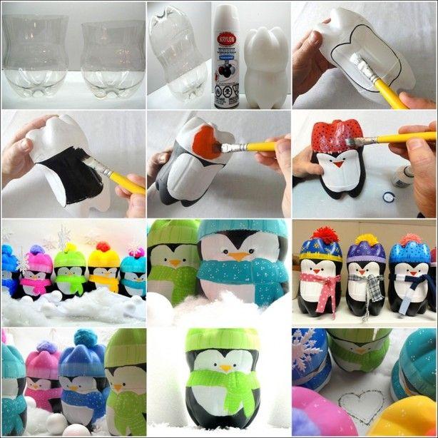 Schattige pinguins gemaakt van plastic flessen en verf.