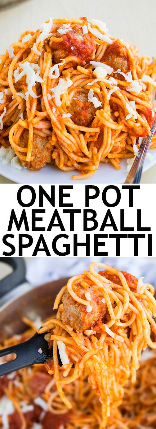 This quick and easy ONE POT SPAGHETTI AND MEATBALLS recipe requires simple ingredients. It's the ultimate comfort food and makes the perfect weeknight 30 minute meal. From cakewhiz.com