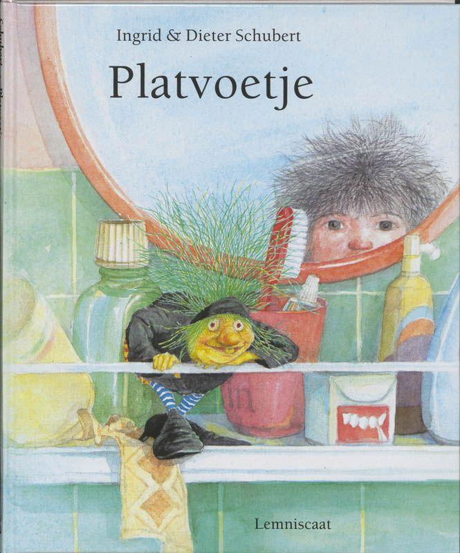 Platvoetje; Ingrid en Dieter Schubert; Uitgeverij Lemniscaat; Een meisje met flaporen vindt op een ochtend een heksje met heel grote voeten. Voor 4 tot 6 jaar; Tip van Elly van der Linden.