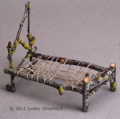 How to Make a Miniature Fairy Bed From Twigs: Finish the Mattress Support for the Rustic Twig Bed