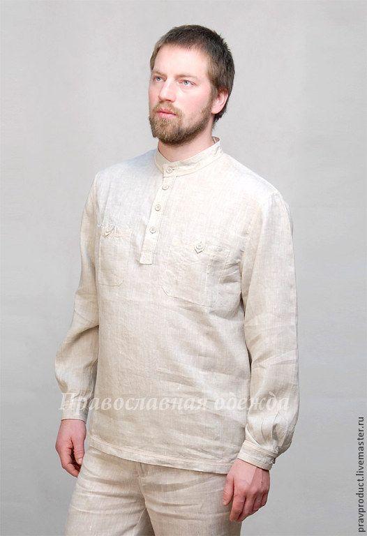 Мужская рубаха из льна, цвет 330 натуральный лен - Православный продукт - Ярмарка Мастеров