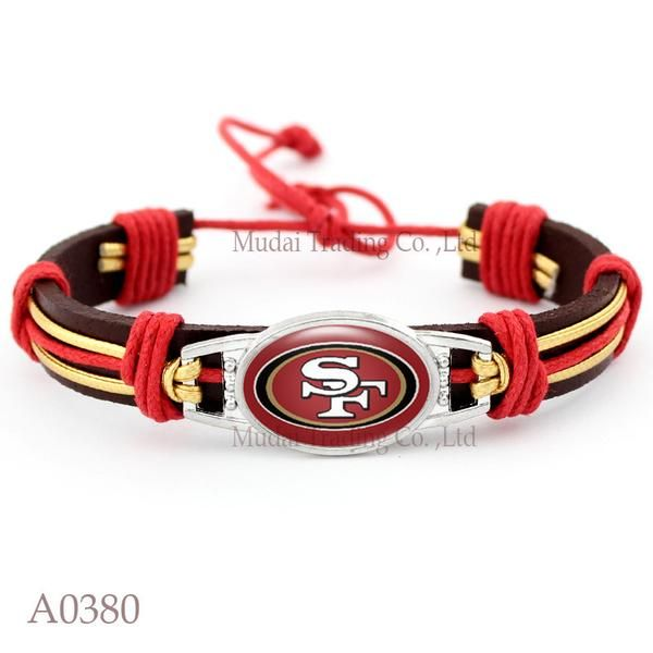 Please Share This Offer San Francisco 49ers Cuff Bracelet This fantastic Leather cuff bracelet is designed and handmade with heart and soul. It is fastened together by an adjustable knot making it ful