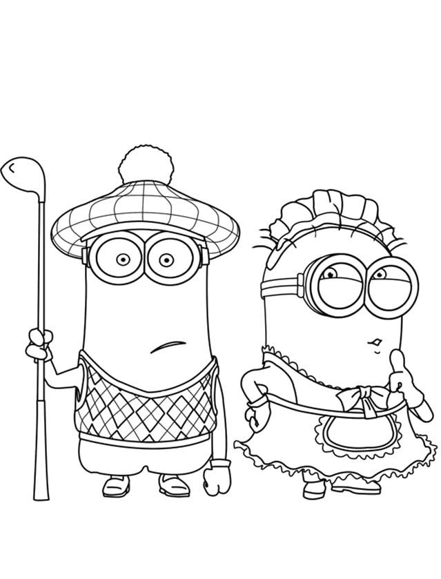 Tim Boy And Tim Girl Coloring For Kids - Despicable Me cartoon coloring pages