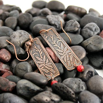 Bamboo Etched Copper Earrings With Red Bead | Pretty Patina