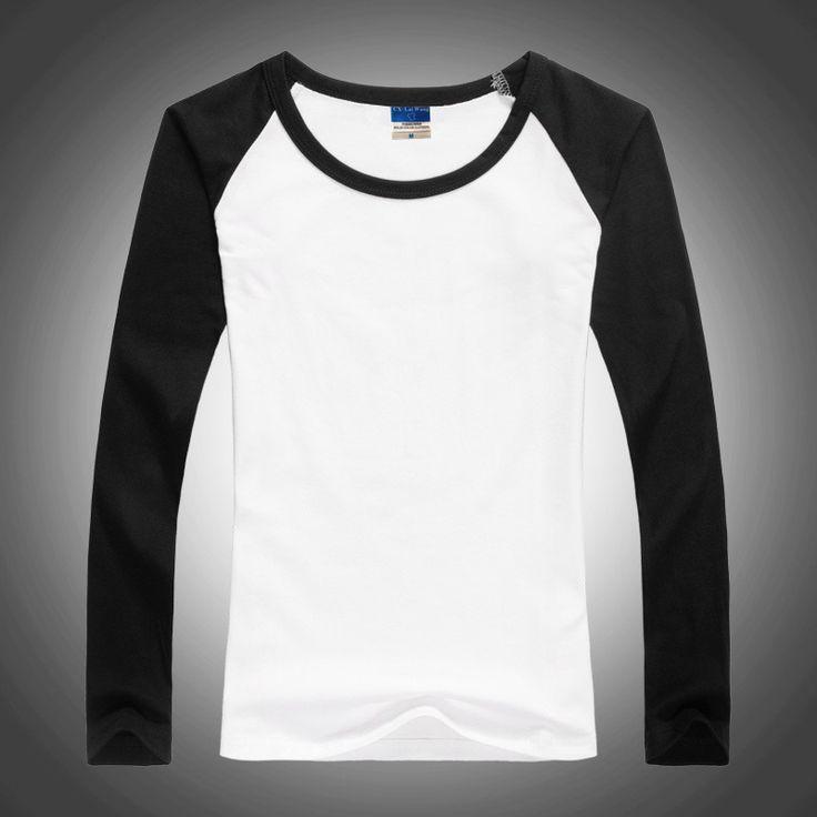 Free Shipping Lady O-Neck Lycra Cotton Patchwork tshirt Slim Tops Women Fashion Punk Long Sleeve T Shirts