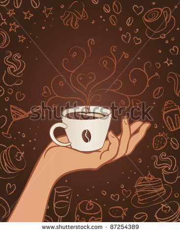 Hand drawn restaurant menu design with hands holding cup on brown background - stock vector