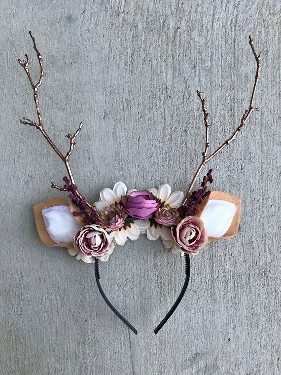 Deer Headband With Flowers & Rose Gold Antlers-Deer Kostüm, Halloween, Headband-Fits Kids und Erwachsene